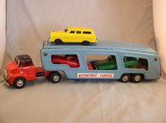 Tin Automobile Carrier w/Cars, Japan, Friction 1950s Toys, Tonka Toys, Vending Machines, Toy 2, Elm Street, Pedal Cars, Selling Antiques, Diecast Model Cars, Toy Trucks