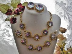 GORGEOUS VTG SCHIAPARELLI WATERMELON TOURMALINE NECKLACE BRACELET EARRING SET