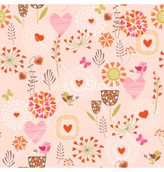 Hearts and flowers pattern vector  by fireflamenco on VectorStock®