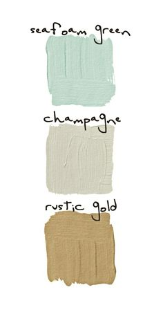 Champagne walls in the living room. Perfect neutral! Seafoam and gold accent colors. Bright and happy :)