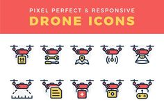 Responsive Drone Icon Set by fortyfive on @creativemarket