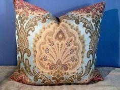 Shabby Tansy Woven Tapestry in Blue Robert Allen Cotton Velvet Pillow   eBay