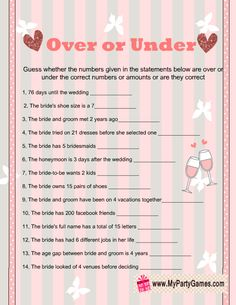Over or Under Bridal Shower Game Printable in Pink Color
