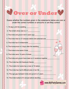 Over or Under Bridal Shower Game Printable in Pink Color