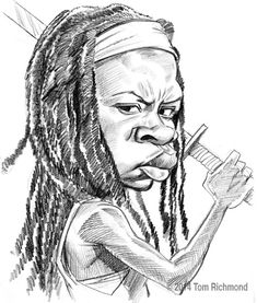 "Today's ""Walking Dead"" caricature: Michonne as portrayed by Danai Gurira."