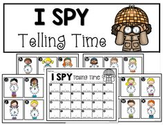 "Activity, ""I Spy Telling Time"" (free download from Unit, ""Let's Practice Telling Time"" from Crazy for First Grade)"
