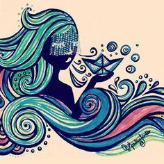 """Rainha das ondas, Sereia do mar ... Curimba arrepiada, Mente paralisada. Sua energia me afaga a pele. Oh! Minha mãe, proteja meu sangue. Que os """"olhos grandes"""" viram para as ondas do mar, que a maldade se afaste de nosso Ser. Grande Sereia, ensinai-me a ter tuas forças, tua sabedoria, teu colo de amparo - de mãe. Dai-me coragem para enfrentar a vida - quando for dura. Tira o ódio do meu coração, ensina-me a perdoar; Ensina-me a viver imensamente, intensamente... Sabrina S."""