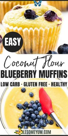Keto Coconut Flour Blueberry Muffins Recipe Keto Coconut Flour Blueberry Muffins Recipe - This low carb keto coconut flour muffins recipe is simple and delicious! See how to make coconut flour blueberry muffins in just 30 minutes, for easy desserts, breakfasts, or snacks. #wholesomeyum #keto #lowcarb #muffins #breakfast #glutenfree<br> Coconut Flour Muffins, Coconut Flour Cakes, Healthy Blueberry Muffins, Blue Berry Muffins, Low Carb Desserts, Low Carb Recipes, Real Food Recipes, Easy Desserts, Low Carb Keto
