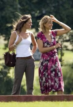 Duchess Catherine in white top and taupe pants with her mother watching polo at Tetbury, June 2005