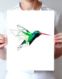 Humminbird, bird art, geometric poster, minimalist art, green art,modern design…