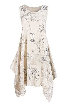 GS-Fashion Sommerkleid A-Linie knielang geblümt Strandkleid ausgestellt  ärmellos Beige 42+44  Amazon.de  Bekleidung 1e0f9c4872e
