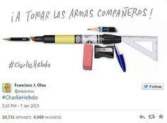 """So reagieren Zeichner aus aller Welt auf den Tod ihrer Kollegen beim Satiremagazin Charlie Hebdo"""": """"An die Waffen, Kameraden!"""", fordert Francisco J. Olea auf. Mehr dazu hier: http://www.nachrichten.at/nachrichten/weltspiegel/Charlie-Hebdo-als-Zeitschrift-der-Ueberlebenden;art17,1598439 (Bild: Francisco J. Olea)"""