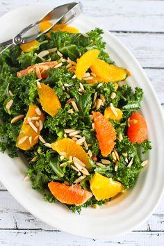 This kale salad recipe features the sweetest seasonal oranges, crunchy toasted almonds and a light Dijon vinaigrette. Plus, 5 of my favorite salad recipes!