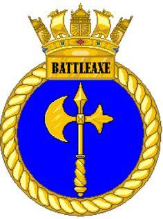 HMS Battleaxe F89 Royal Navy Frigates, Navy Badges, Royal Marines, Emblem, Navy Ships, Crests, British, Military, Symbols
