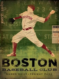 Boston Baseball Club boston red sox original graphic illustration giclee archival signed print by Stephen Fowler