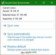 Accent Color Synchronizer 1.0.1.0  Accent Color Synchronizer--起動時の画面--オールフリーソフト