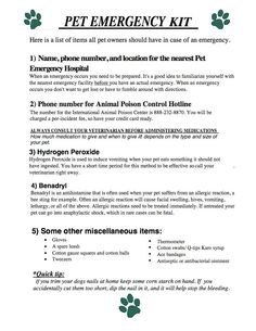 Pet Emergency Kit & Poisonous Plants