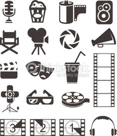 Set of media and film web icons. Deco Cinema, Hollywood Theme Classroom, Movie Crafts, Movie Reels, Movie Themes, Media Icon, Clip Art, Bullet Journal Art, Illustration