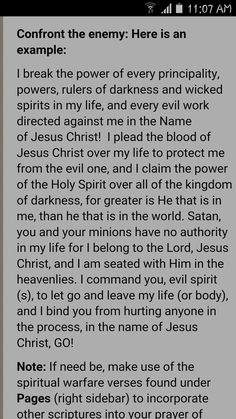 Prayer against evil spirits Prayer Scriptures, Bible Prayers, Faith Prayer, Prayer Quotes, Good Prayers, Prayers For Healing, Prayer For Enemies, Prayer Against The Enemy, Religious Quotes