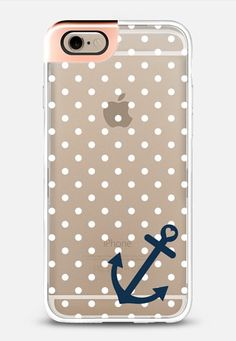 White Navy Nautical Polka Dot Transparent iPhone 6 Metaluxe case by Organic Saturation | Casetify