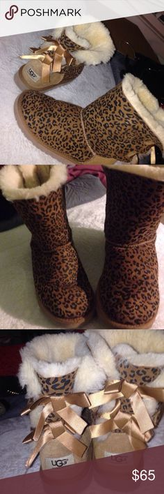 Leopard print Bailey Bow Uggs Size 4 kids Gently used& slight creasing UGG Shoes Winter & Rain Boots