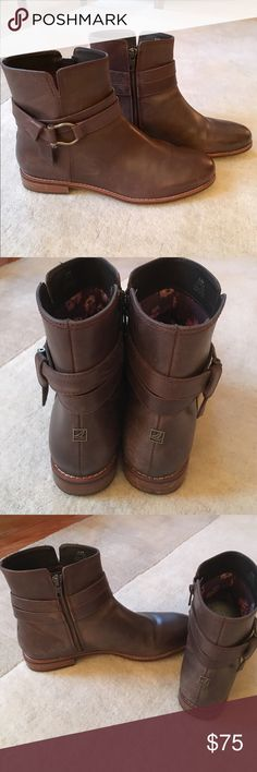 Sperry Clinton Brown Boots Excellent condition (even the bottoms). Only worn a few times as they are too small. Wish they fit as I LOVE these! Flat, high ankle boots with a stylish buckle on the side. Zipper on the inner ankles. Brown colored with floral design on the inside. Leather Upper material. Sperry Top-Sider Shoes Ankle Boots & Booties