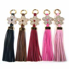 Leather Tassel Fringe Crystal Rhinestone Flower Key Ring Bag Charm Accessory New #Jacc