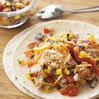 Fajita-Ranch Chicken Wraps  Calories 224,  Protein (gm) 25,  Carbohydrate (gm) 15,  Fat, total (gm) 7,  Cholesterol (mg) 59