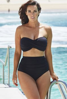 Swim Sexy Black Shirred High Waist Twist Bikini