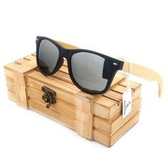 97064b7956 Mens Summer Style Vintage Black Square Sunglasses With Bamboo Mirrored  Polarized Travel Eyewear in Wood Box