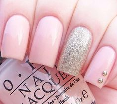 Pink nails with gold silver nail with rhinestones