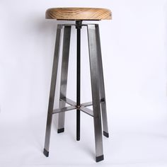 Steel Adjustable Bar Stool, Wood Seat - Tall