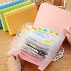 Plástico Carpeta de Archivo de Color Caramelo A6 Pequeño Documento Ampliar La Cartera Carpetas de Facturas para Documentos Fichario Escolar