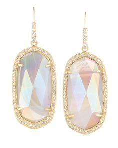 Kendra Scott Jewelry. Small Pave Oval Earrings in Iridescent Agate. $225.00