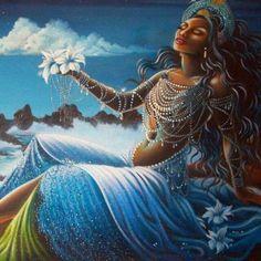 Orisha Yemaya: The Goddess of Fertility African Mythology, African Goddess, Oshun Goddess, Goddess Art, Black Girl Art, Black Women Art, African American Art, African Art, African History