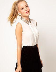 Camisa sin mangas con cuello de lentejuelas de Glamorous