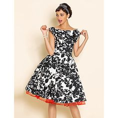 VINTAGE Print Swing Dress With Petticoat