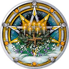 Silver & gold interlaced pentacles celebrating the pagan moon sabbat of Imbolc featuring Brigid's Cross, priapic wands, candles, crocuses and snowdrops. Mabon, Samhain, Celtic Paganism, Fire Festival, Beginning Of Spring, Groundhog Day, Sabbats, Spring Sign, Magick