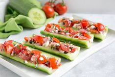 Crunchy, refreshing, nutritious and awesomely vegetarian and gluten-free, these Greek Salad Cucumber Boats make the perfect quick lunch or snack for summer days! #glutenfree #vegetarian thepetitecook.com