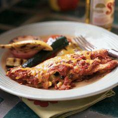 Black Bean, Corn, and Zucchini Enchiladas | MyRecipes.com use corn  tortillas