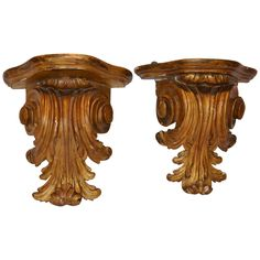 Pair of Gilt Acanthus Leaf Brackets available for sale at Atelier1505.com