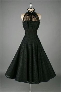 1950's Paul Sachs Black Tuxedo Lace Cocktail Dress. I love how these styles are coming back