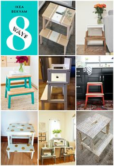 To dress up our Ikea Bekvam stool - love some of these ideas