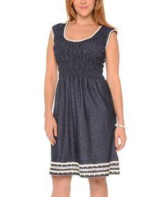 Another great find on #zulily! Shoreline Denim Crochet-Trim Fit & Flare Dress - Plus by Shoreline #zulilyfinds