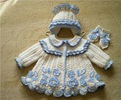 This is so sweet! Crochet Baby jacket, hat and booties