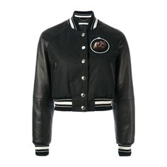 GIVENCHY Cropped Bomber Jacket (31.018.285 IDR) ❤ liked on Polyvore featuring outerwear, jackets, black, monkey jacket, snap jacket, bomber style jacket, long flight jacket and givenchy jacket