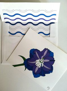 Delphinium Note Card with coordinating Wave by IdAndEgoCreations, $2.75