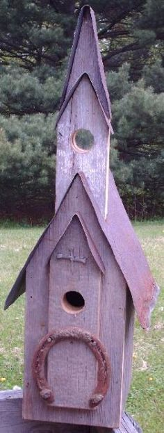 Country Church Barnwood Birdhouse with Cleanout and Authentic Horseshoe Perch Amish Handmade