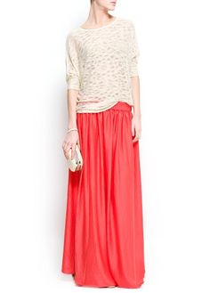 Mango - Coral maxi skirt and neutral top.