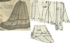 Tygodnik Mód 1869.: Petticoat for train skirts; Fig. 26. patterns for the pieces, 26a. shows how the pieces line up.